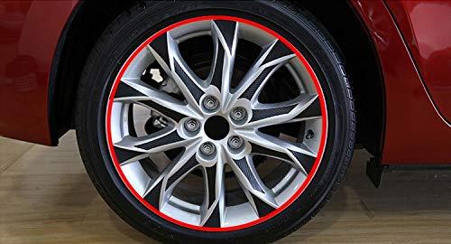 16 18 pulgadas de fibra de carbono 4 ruedas de llanta Etiqueta de ruedas Etiquetas engomadas impermeables para Mazda 3 M3 Axela 2013 2015 2015 Decoración externa (Color Name : Rojo)