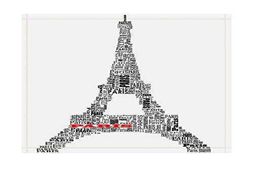 lovedomi The Effie Tower Serie Tema Simple compuesta Letras inglesas Alfombra bañera baño Puerta Antideslizante Piso Puerta Entrada para Interiores Exteriores Alfombra baño para niños