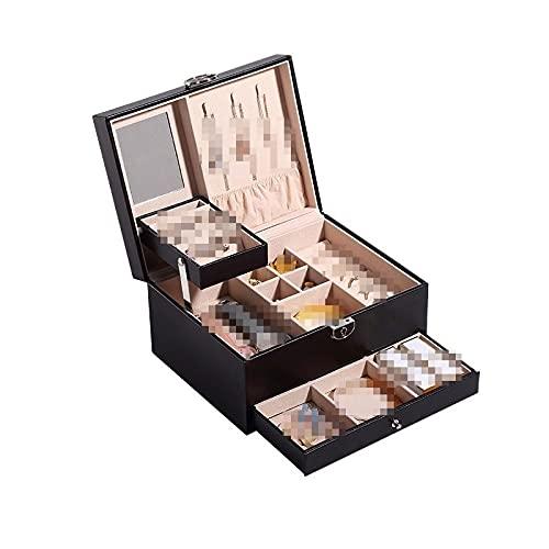 GYJYEG Organizador de joyas de viaje de alta capacidad, compatible con collares, pendientes, anillos, joyas, caja de exhibición portátil (color: negro)