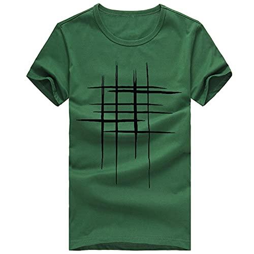 Xmiral Kurze Ärmel Tees Herren Printing Hemd T Shirt Baumwolle Casual Bluse Streifen Jung Studentenkleidung S-2XL(XL,Grün)