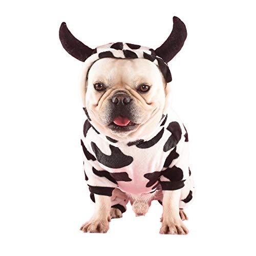 PP&DD 犬服 牛デザイン白黒模様 乳牛 パーカー 面白い 暖かい 帽子付き 犬 フレンチブルドッグ フレブル コ...