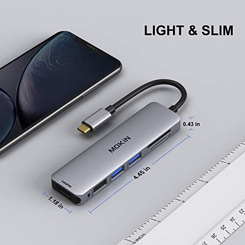 MOKiN USB C Hub Type C Adapter 6 in 1 USB-C Hub mit HDMI 4K@30Hz, 2*USB 3.0 Ports/1*USB 2.0 Anschlüsse, SD/Micro Kartenleser, kompatibel für MacBook Pro,MacBook Air, XPS und mehr Typ-C-Geräte