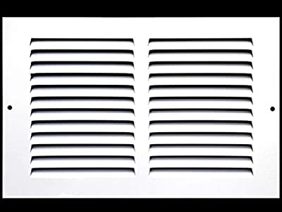 """10""""w X 6""""h Steel Return Air Grilles - Sidewall and Ceiling - HVAC Duct Cover - White [Outer Dimensions: 11.75""""w X 7.75""""h]"""