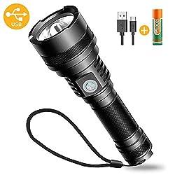 Bovon LED Taschenlampe, USB Wiederaufladbare Outdoor Taschenlampe Extrem Hell für Kinder Camping Wandern Fahrradfahren & Notfälle (5 Verstellbare Modi, IP65 Wasserfest, 1 x 18650 Batteries Inklusive)