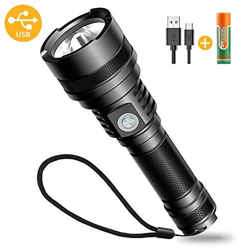 Bovon USB Torcia LED, Super Luminosa Torcia LED Ricaricabili con 5 modalità, IP65 Impermeabile, Torcia Tattica Elettrica da 600 Lumen per Uso Interno,