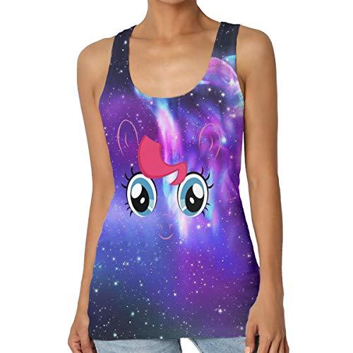 My Little Pony Pinkie Pie Cara Grande Camiseta sin Mangas para Mujer Cuello Redondo Camisa básica sin Mangas Cami Camisetas sin Mangas Camisola de Verano para Mujer Tallas Grandes