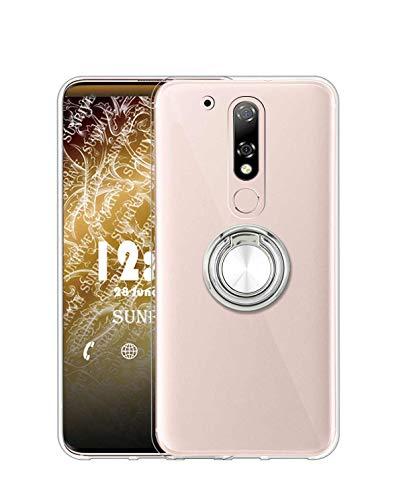 Sunrive Funda para Motorola Moto G4 Plus, Silicona Transparente Gel Carcasa Case Bumper Anti-Arañazos Espalda Cover Anillo Kickstand 360 Grados Giratorio(A2 Plateado) + 1 x Lápiz óptico