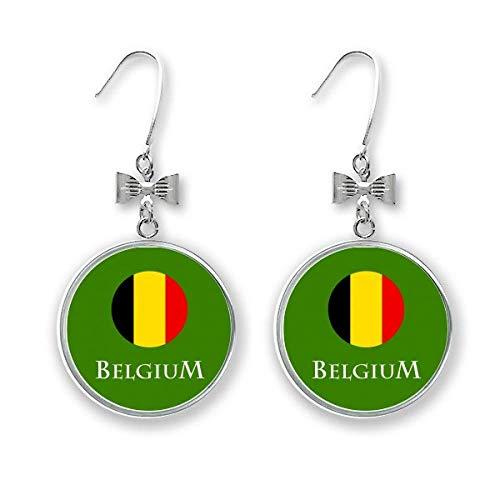 Bélgica Bruselas Unión Europea arete pendientes de gota con gancho perforado