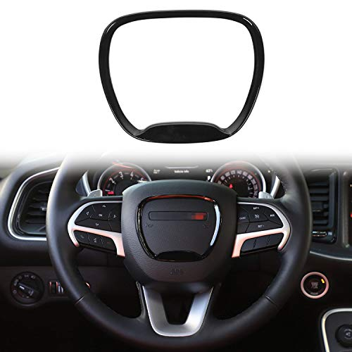 Voodonala Steering Wheel Trim, for 2015-2020 Dodge Challenger Charger, for Jeep Grand Cherokee SRT8 2014-2020, ABS Black 1pc