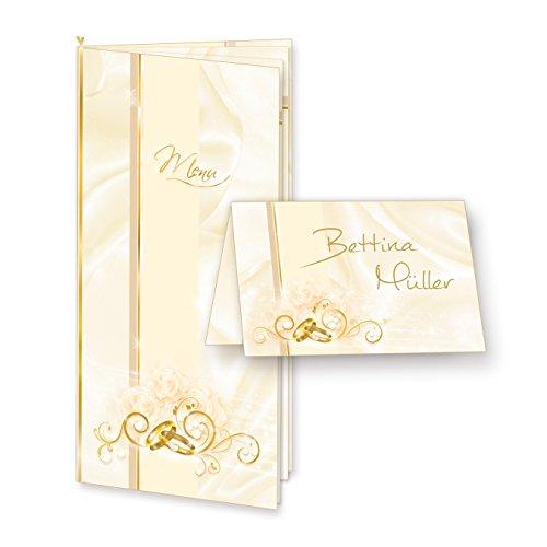 TATMOTIVE 73-0008 PERLMUTT Hochzeit Tischset mit 8 Menükarten + Einlegeblätter bedruckbar + 32 Tischkarten + EDDING Gold-Lackstift
