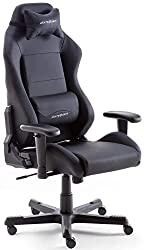Robas Lund DX Racer 3 Gaming chair Office chair Desk chair with rocker function Gamer chair Height-adjustable swivel chair PC chair Ergonomic executive chair, black