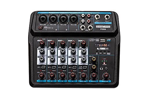 ONAX PRO POD6 6 Channel audio mixer with Interface for Stereo Streaming Podcast USB Phantom Power