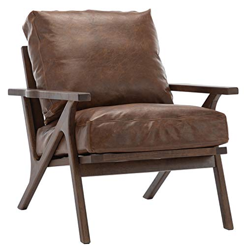 chairus Mid-Century Accent Chair, Retro Upholstered Lounge Chair, Large Leisure Armchair for Living Room/Bedroom/Reception/Dorms, PU Brown