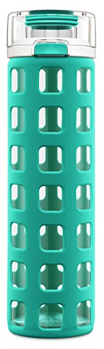 Ello Syndicate Glass Water Bottle with One-Touch Flip Lid , Mint, 20-ounce