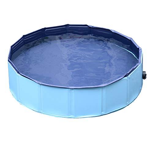 Haudang Pet Natación Plegable Bañera de baño Piscina Perro Mascota Lavadora Interior / Exterior (Azul, Φ80 x 20 H)