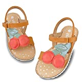 HOMEHOT Toddler Sandals for Girls Open-Toe Floral Summer Flat with Hook and Look Ankle Strap for School Beach Anti Slip Kids Shoes Red Size 7