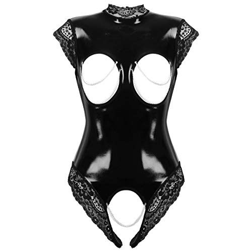 YiZYiF Damen Wetlook Bodysuit Brust Offen Body Catsuit Spitze Stringbody Erotik Lack Leder Dessous Trikot Babydoll Lingerie Crotchless Schwarz L