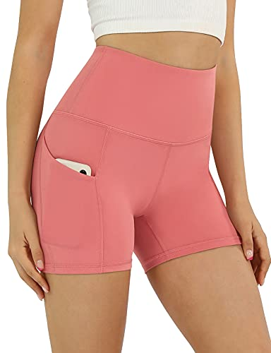 ODODOS Women's 5' High Waist Biker Shorts with Pockets, Tummy Control Non See Through Weokout Sports Athletic Running Yoga Shorts, Pink, Large