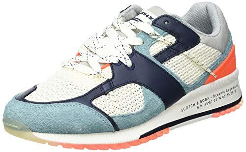 SCOTCH & SODA FOOTWEAR Vivex Sneaker, Zapatillas Hombre, Off White Multi, 41 EU