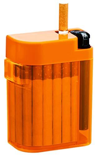 Magic Smoking Box, Zigarettenetui,Cigarret Box,Kippenbox,inkl. Feuerzeug, Farben, : rot, orange, blau, Zigarettenbox, extrem stabil, mit Feuerzeug, mechanische Ausgabe der Zigarette