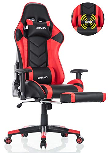 OHAHO Gaming Chair Racing Style Office Chair Adjustable Massage Lumbar Cushion Swivel Rocker Recliner Leather High Back Ergonomic Computer Desk Chair with Retractable Arms and Footrest (Black/Red)