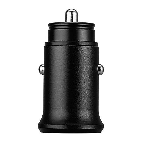 Shot Case Mini Adaptador de Metal para Encendedor de Cigarrillos USB para Huawei Mate 20X, Enchufe Doble de 2 Puertos de Coche, Cargador Unive (Negro)