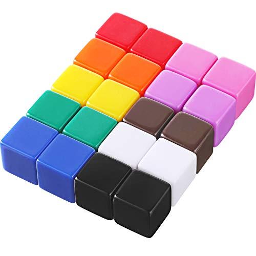 20 Stücke 16 mm Leere Würfel Acryl Würfel Farben DIY Würfel für Brettspiele Lehrmittel mit Aufbewahrung Tasche