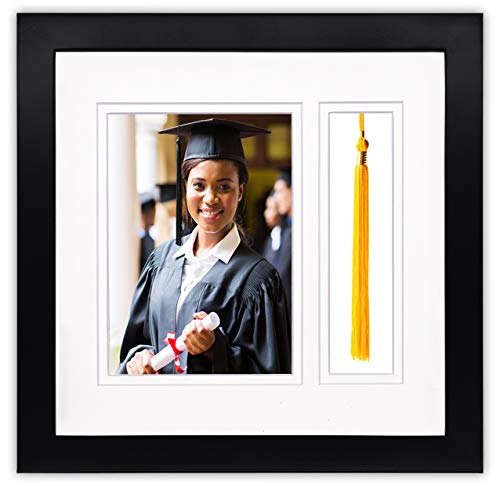 Golden State Art, 10x10 Graduation Shadow Box Frame for 5x7 Photo with Tassel Insert, Double Mat...