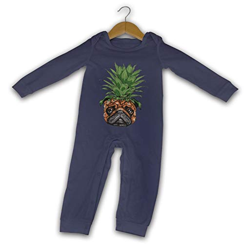 WushXiao Funny Piña Pug Long Comfort Baby Crawler Negro