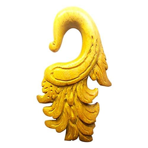 Chic-Net Jackfrucht Holz hell braun 10mm Lobe Piercing Hook Fire Dehnspirale Dehnschnecke   Tribal Handarbeit Expander Damen Herren Flesh Dehner Ohrring Taper Dehnungsstäbe Spiralen Flammen 10 mm