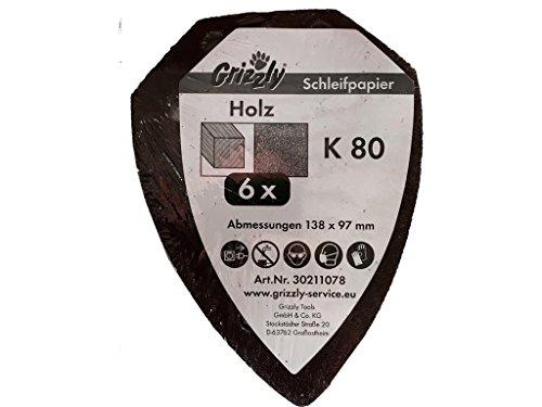 Schuurbladset K80 (6 stuks) voor Parkside accu handschuurmachine PAHS 12 A1 IAN 88933