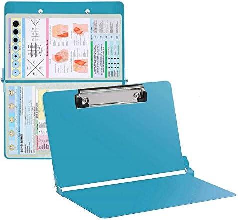 Awolf Nursing Clipboard Foldable Teal Aluminum Nurse Clipboard with Generous Storage Lightweight product image