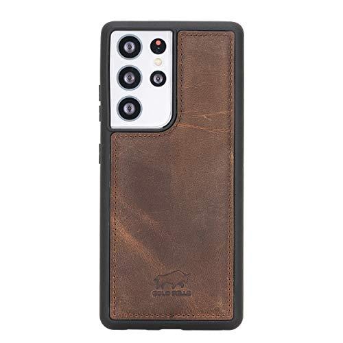 Solo Pelle Lederhülle für das Samsung Galaxy S21 Ultra 5G in 6.8 Zoll Hülle aus echtem Leder, Model: Stanford (Vintage Braun)