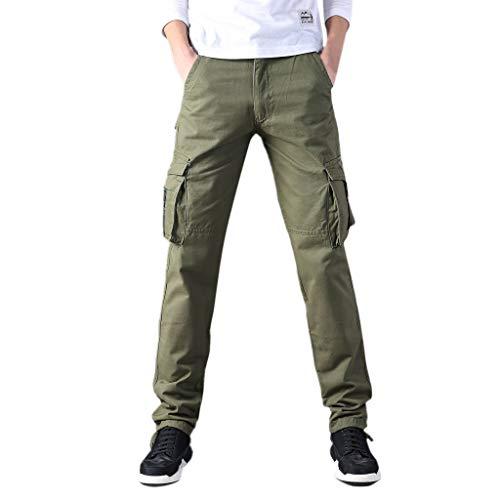 Makalon herenbroek, elastische taille, klassieke broek, heren, comfortabel, slim, joggingbroek, elastische riem (legergroen, 33)