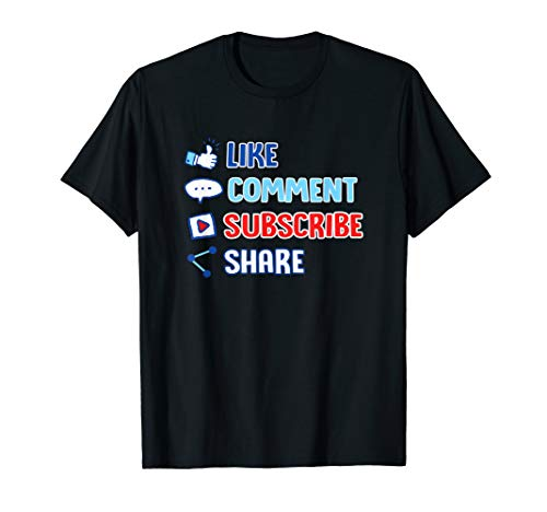 Like Comment Subscribe Cute Vlogger Streamer Gift T-Shirt