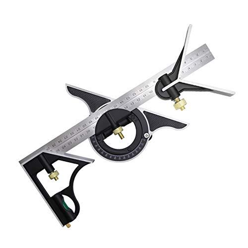 MJJ 3 en 1 de 300 mm/12'' Combinación Cuadrada Juego de Trabajo Pesado Kits de Herramientas de medición cuadradas Precisión Transportador de ángulos Buscador Regla Cuadros de carpintería