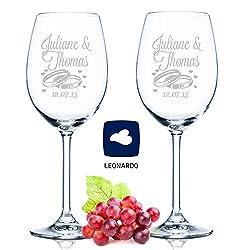 Leonardo Weingläser mit Gravur von Namen & Datum im - Wedding Design - als Geschenk zur Hochzeit, Verlobung oder zum Jahrestag - Personalisiert mit Wunschgravur - das perfekte Hochzeitsgeschenk