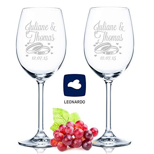 Leonardo - Copas de vino con grabado de nombre y fecha en diseño de boda - como regalo para boda, compromiso o aniversario - Personalizadas con grabado personalizado - el regalo de boda perfecto