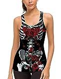 uideazone Women Party Halloween Skeleton Skull Rose Bride Costume Tank Tops Tee T-Shirt