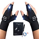 LED Flashlights Gloves, Men's Gifts for Dad Father, Fishing Gloves With Stretchy Strap Screwdriver for Repairing Cars Night Running Fishing Camping Hiking in Dark Place, Popular and Unique Gift -1Pair