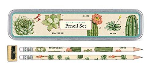 Cavallini Papers & Co, Inc. PS/SUC Sukkulenten Bleistift Set 10 Bleistifte, 1 Spitzer