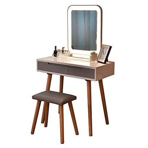 ARTETHYS Coiffeuse Blanche avec Lumière LED Luminosité Réglable Miroir de Maquillage Tabouret de Table Set de Commode Moderne Tabouret Coussiné Vanité avec Organisateur de Maquillage (Rectangle)