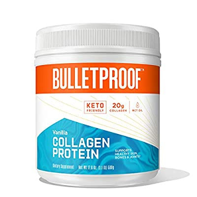 Bulletproof Collagen Protein Powder with XCT MCT Oil, Vanilla, Collagen Peptides and Amino Acids for Healthy Skin, Bones and Joints, Keto Friendly, 23g Protein, 17.6 Ounces