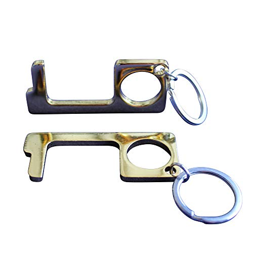 Gold No Touch Anti-Viral Brass Door Opener, Contactless Tool, Avoid Touching Surfaces, Hygiene Tool with Keychain (Pack of 2)