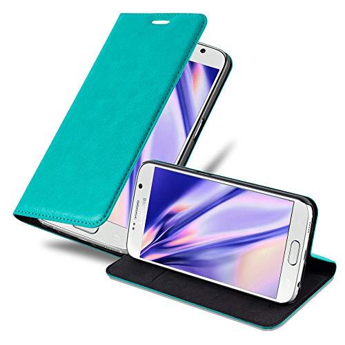 Cadorabo Hülle für Samsung Galaxy S6 in Petrol TÜRKIS - Handyhülle mit Magnetverschluss, Standfunktion & Kartenfach - Hülle Cover Schutzhülle Etui Tasche Book Klapp Style