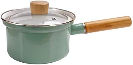 NXYCG Enamel Cookware Small Capacity Soup Pot Mini Milk Pot with Transparent Cover Green