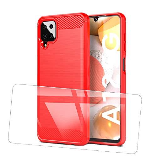 JIENI Funda para LG Stylo 7 5G (6.4 Pulgadas), Cubierta de Fibra de Carbono, Carcasa de TPU de Silicona Suave, para Cubierta Protectora a Prueba de Golpes para LG Stylo 7 5G -Red