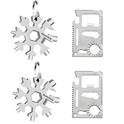 [4 Pack]18-in-1 Snowflake Multi Tool and Credit Card Wallet Multitools -Survival kit Keychain Bottle Opener/Flat Phillips Screwdriver Kit/Wrench Set, Pocket EDC Rescue Gear for Quick Fixes by Huameilong