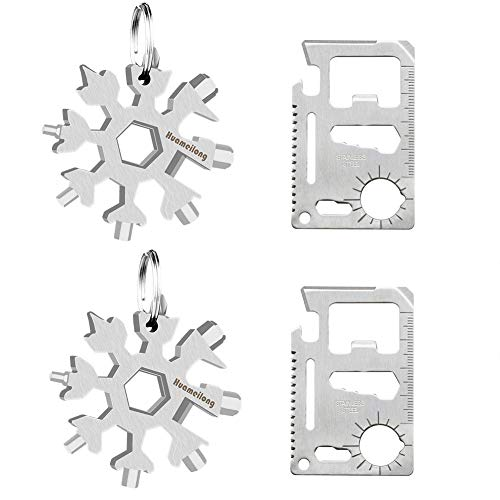 [4 Pack]18-in-1 Snowflake Multi Tool and Credit Card Wallet Multitools -Survival kit Keychain Bottle Opener/Flat Phillips Screwdriver Kit/Wrench Set, Pocket EDC Rescue Gear for Quick Fixes