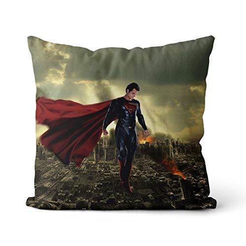 Superman: El Hombre de Acero Cojín Decorativo Clark Kent una Funda de Almohada Cojín Cuadrado sólido Algodón Fundas de Almohada Decoración del hogar para sofá Coche Dormitorio 18x18inUno
